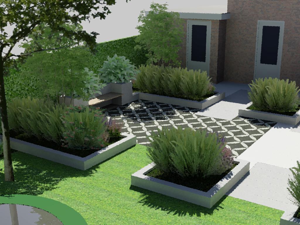 Witte Tegels Tuin.Bladgoud Tuinen