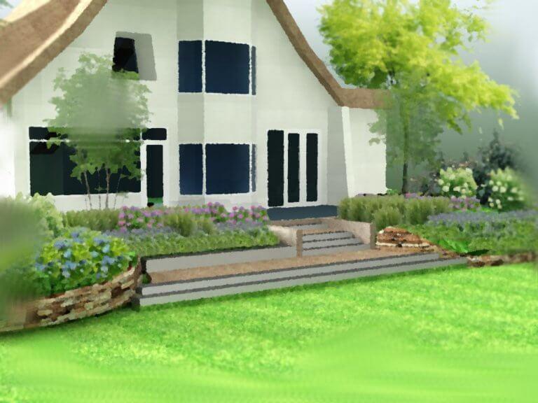 Heuvelachtig Tuin Ontwerp : Bladgoud tuinen
